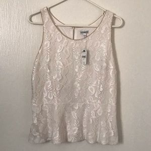 NWT White Lace and gold Express shirt